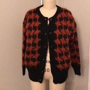Sweaters - Oversized houndstooth cardigan